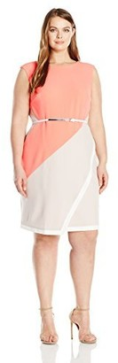 Sandra Darren Women's 1 Pc Plus Size Extended Shoulder Crepe Sheath Colorblock Dress