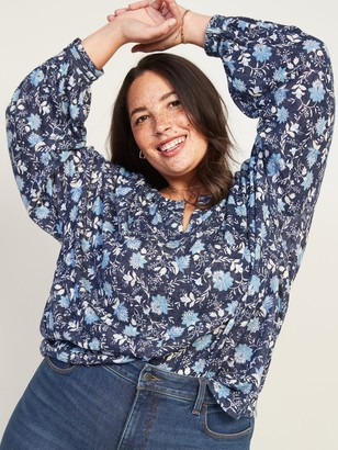 Old Navy Oversized Split-Neck Crochet-Trim Plus-Size Long-Sleeve Top