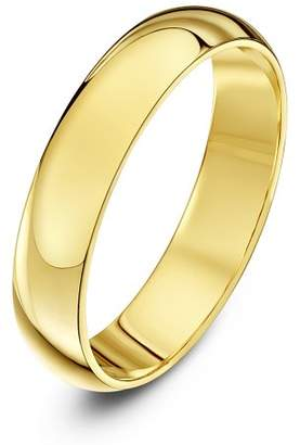 Theia Unisex 18 ct Yellow Gold, Super Heavy D Shape, Polished, 4 mm Wedding Ring, Size L