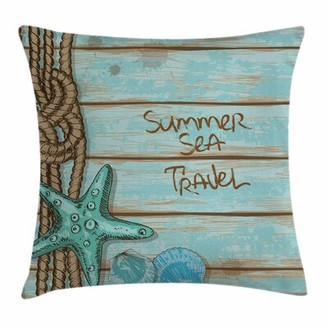 """East Urban Home Starfish Decor Summer Travel Square Pillow Cover East Urban Home Size: 16"""" x 16"""""""