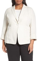 Lafayette 148 New York Plus Size Women's Alba Herringbone Linen Jacket