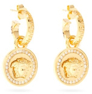 Versace Medusa And Crystal Drop Earrings - Gold