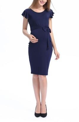 Kimi and Kai Lucile Ruffle Sleeve Maternity Dress