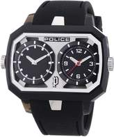 Police PL-13076JPB-02A Men's Hydra Black Dial Black Rubber Strap Dual-Time Watch