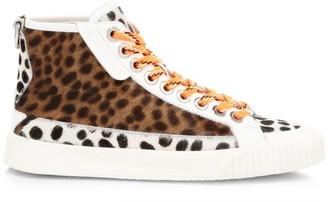 Jimmy Choo Impala Animal-Print Calf Hair High-Top Sneakers