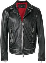 DSQUARED2 studded leather jacket - men - Cotton/Calf Leather/Polyester/Aluminium - 46