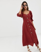 Asos Design DESIGN button through maxi dress in seersucker