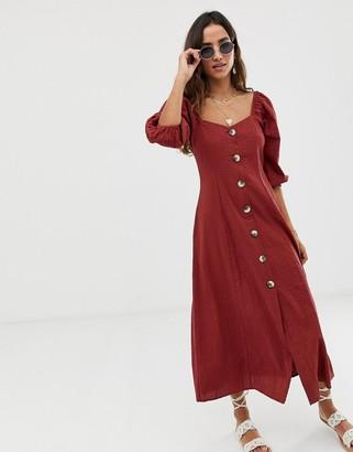 ASOS DESIGN button through maxi dress in seersucker