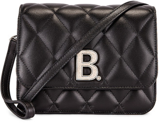 Balenciaga Small Quilted Leather B Bag in Black | FWRD