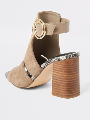 River Island Wide Fit Cut Out Buckle Shoe Boot - Taupe