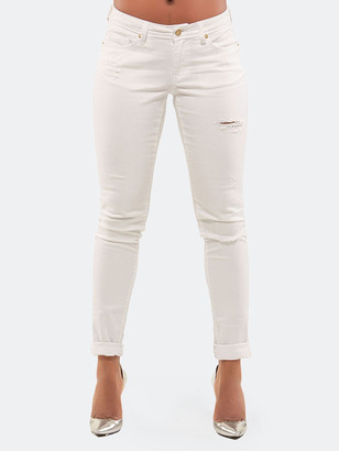 Poetic Justice Maya White Destroyed Washed Skinny Jeans