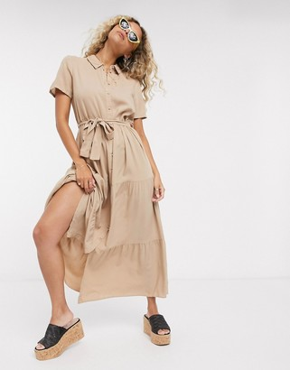Vero Moda midaxi shirt dress in brown