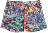 MSGM Floral Printed Satin Chino Shorts