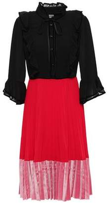 Mikael Aghal Pleated Crepe De Chine And Velvet Dress