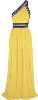 Elie Saab One-shoulder Grosgrain-trimmed Silk-georgette Gown - Yellow