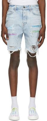 Amiri Blue Denim Watercolor Trasher Shorts