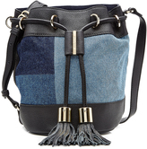 See by Chloe Leather and Denim Patchwork Drawstring Satchel