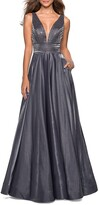 Thumbnail for your product : La Femme Plunge-Neck Sleeveless Two-Tone Satin Ball Gown with Rhinestone Bodice
