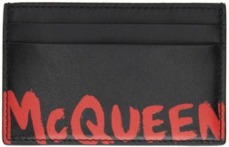 Alexander McQueen Black and Red Graffiti Card Holder