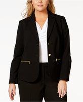 Calvin Klein Plus Size Button-Front Zip-Pocket Jacket