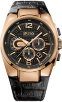 HUGO BOSS Watch, Men's Chronograph Black Leather Strap 44mm 1512737