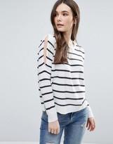 Brave Soul Stripe Cold Shoulder Sweater