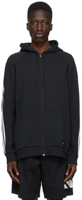 adidas Black and White 3-Stripe Hooded Track Sweater