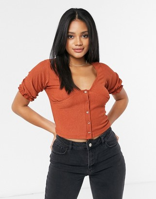 New Look button front textured top in rust