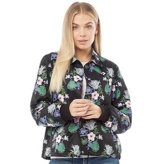 Converse Womens Star Chevron Palm Print Coaches Jacket Black