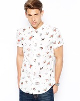 Pull&Bear Short Sleeved Shirt with Tattoo Print