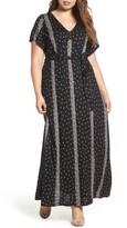 Lucky Brand Plus Size Women's Striped Ditsy Maxi Dress