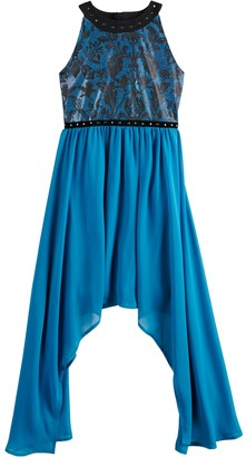 D Signed Disney's D-Signed Descendants 3 Girls 7-16 Baroque Handkerchief Maxi Dress