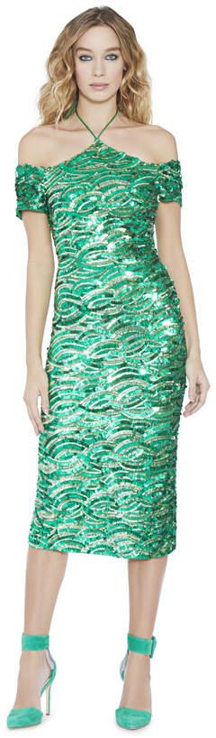 Alice + Olivia Audra Embellished Off The Shoulder Dress