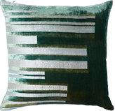 Kevin OBrien Kevin O'Brien Stripe Velvet Pillow-DARK GREEN