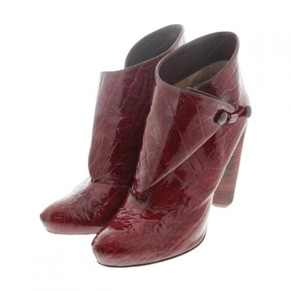 Louis Vuitton Burgundy Patent leather Ankle boots