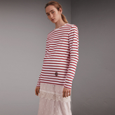 Burberry Unisex Pallas Heads Motif Breton Stripe Cotton Top