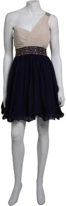 Little Mistress Cream & Navy One Shoulder Dress