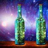 Set of 2,Gold Mercury Spark Effect Glass Wine Bottle Light with LED Starry String Lights & Cork, Home Decor Decorative Bottles Lamp for Courtyard/Kids Room/Wedding/Party/Showcase