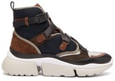 Chloé Sonnie Raised-sole High-top Trainers - Womens - Navy Multi