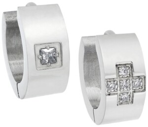 Sutton by Rhona Sutton Sutton Stainless Steel And Cubic Zirconia Huggie Earring Set