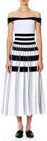 Carolina Herrera Striped Off-the-Shoulder Midi Dress, White/Black