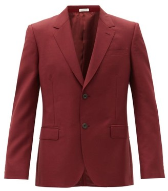 Alexander McQueen Single-breasted Wool-blend Jacket - Burgundy