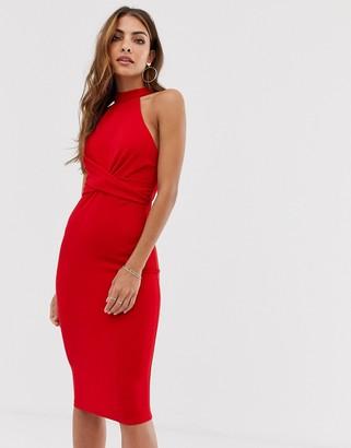AX Paris twist front bodycon dress-Red