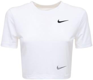 Nike Logo Print Slim Cropped Jersey T-shirt