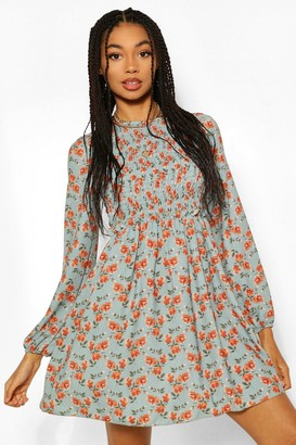 boohoo Smocked Floral Print Skater Dress