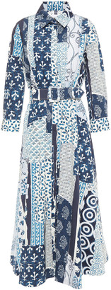 Oscar de la Renta Patchwork-effect Stretch-cotton Poplin Midi Shirt Dress