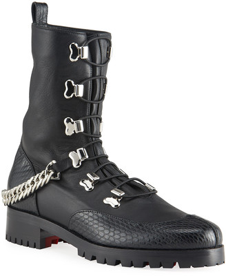 Christian Louboutin Horse Gaurda Mixed Leather Combat Booties