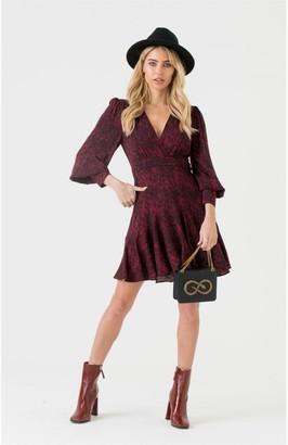 LIENA V-wrap Burgundy Snakeskin Mini Dress
