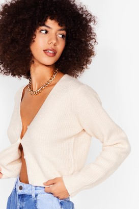 Nasty Gal Womens Button Our Mind Knitted Cropped Cardigan - Cream