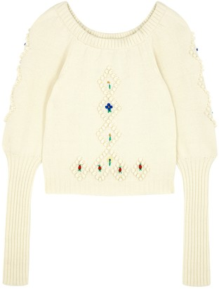 Philosophy di Lorenzo Serafini Cream Embroidered Wool Jumper